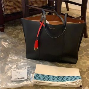 Tory Burch Perry Triple Compartment BLACK tote